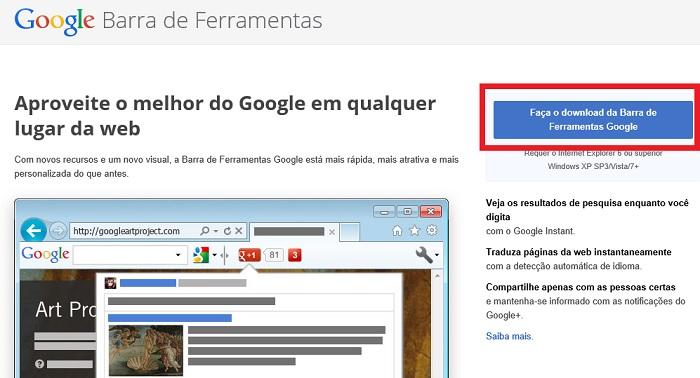 google tradutor na barra de ferramentas